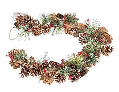 Guirnalda de Navidad con piñas de abeto y 10 LED en blanco cálido, función de temporizador de 6 horas, funciona con pilas, para Navidad, decoración, como luz de ambiente, aprox. 1 m