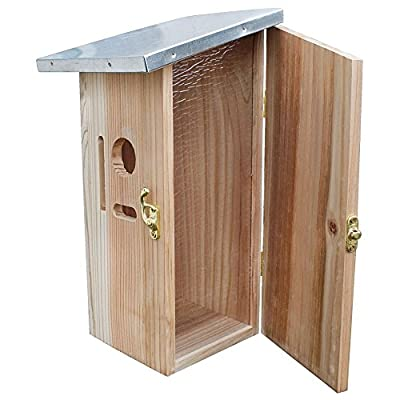 Nestbox 30x14x12cm (HxDxW) made of natural plywood for small birds, with lateral opening, plexiglass and galvanized metal roof by PROHEIM