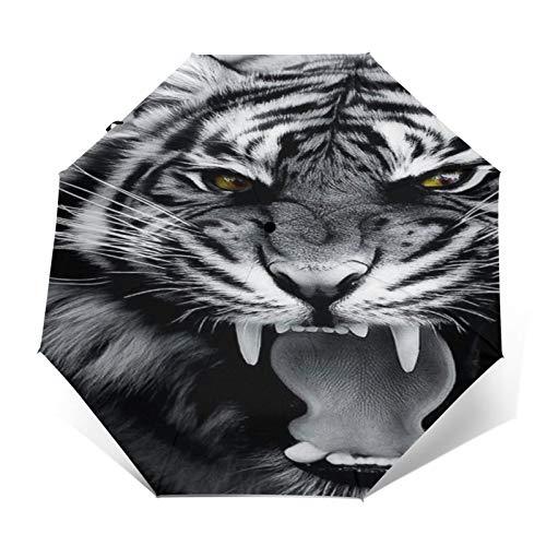 TISAGUER Paraguas automático de Apertura/Cierre,Cuadro de Arte Moderno en Blanco y Negro,un Tigre rugiente,Paraguas pequeño Plegable a Prueba de Viento