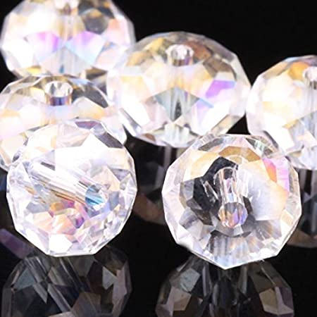 Wholesale AB Rondelle Faceted Crystal Glass Loose Beads Jewelry Making 4mm6mm8mm