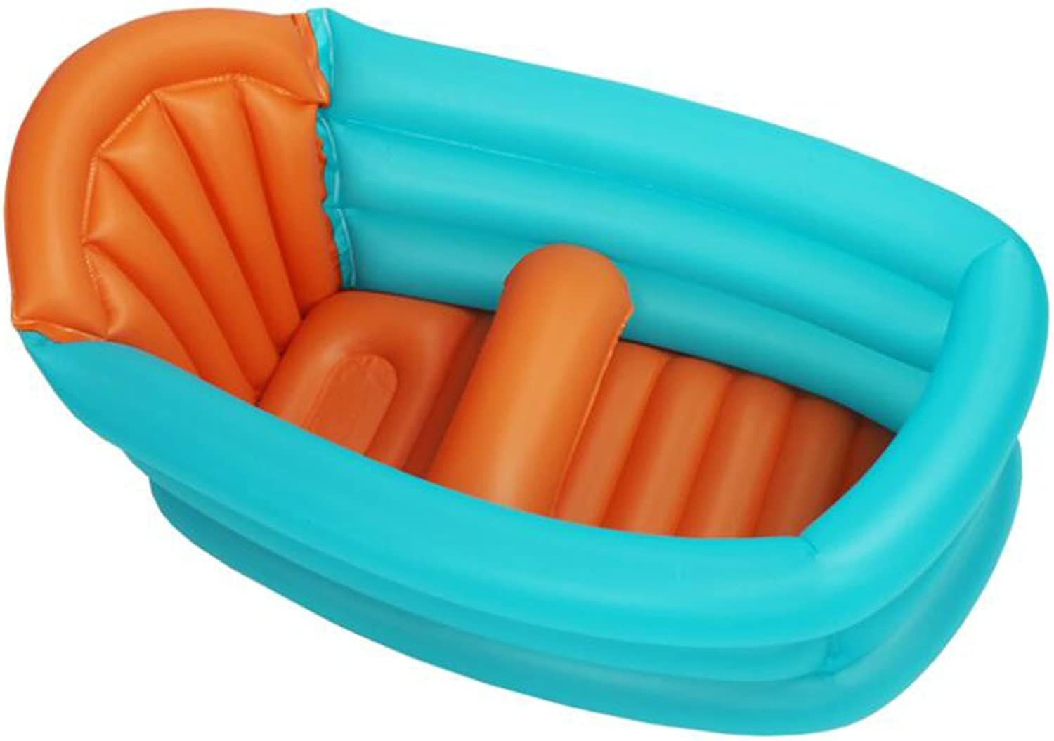 Bloomy Home- Inflatable Baby Bath Tub Kid Infant Toddler Thick Foldable Bath Tub with Soft Cushion Central Seat