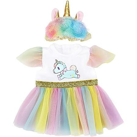 ZWOOS Ropa para Muñecas bebé, Vestido de Unicornio con Diadema para Muñecas 35-43 cm