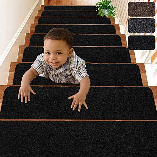 """D L D Peldaños de Escalera Pasillos para escaleras Interiores Antideslizantes de 8""""x 30"""" para peldaños de Madera, Paquete de 14 Tiras Antideslizantes para Mayor Seguridad y Agarre (Negro)"""