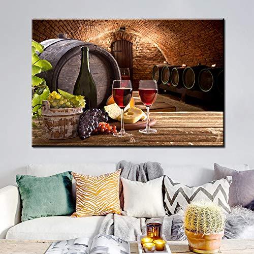 Pinturas artísticas en lienzo de vino de uva en la pared Varios vinos con uva Arte de la pared Impresiones en lienzo Cuadros decorativos para la cocina Room-50x75cm Sin marco