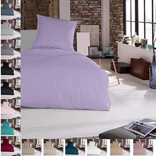 Bettwäsche Bettgarnitur Bettbezug 100% Baumwolle 135x200 155x220 200x200, Farbe Bettwäsche:Lila, Größe Bettwäsche:135 x 200 cm