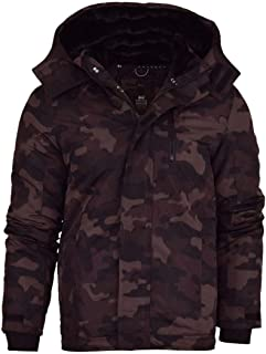Crosshatch Mens Hooded Padded Jacket Camo Coat Quilted   Fleece Lined Hood and Neck  Zip Pockets  Inner Pocket