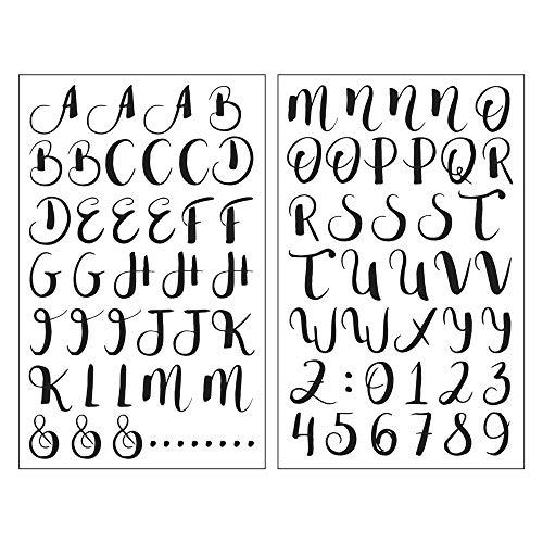 Rayher 50031000 Deko-Abziehmotive ABC + 123, schwarz, hauchdünn, 2 Bögen je 10 x 16 cm, Tattoo, Aufkleber, Abziehbild, Wasserschiebebild, für glatte Oberflächen