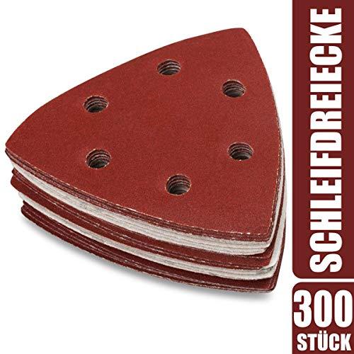 300 x Deltaschleifer Dreieck Schleifpapier 93x93x93mm - Klett Schleifdreiecke für Dreieckschleifer 40-240 Körnung