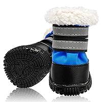 DHDHWL 犬のブーツ 小中型犬チワワ雪太い犬靴下冬暖かい犬の靴ノンスリップ綿反射ペットの靴 犬用靴 (Color : Blue, Size : 5)