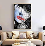 liujiu Graffiti Woman Poster and Prints Canvas Painting Wall Art for Home Decoration Wall Decor DecorationsPicturesGift -50x70cm No Frame