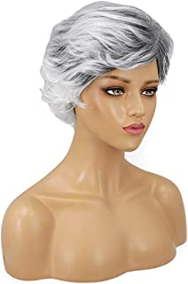 Hairpieces Hair Extension Wigs Ladies Star with Short Curly Hair Wig 14cm Black and White Hair Weave