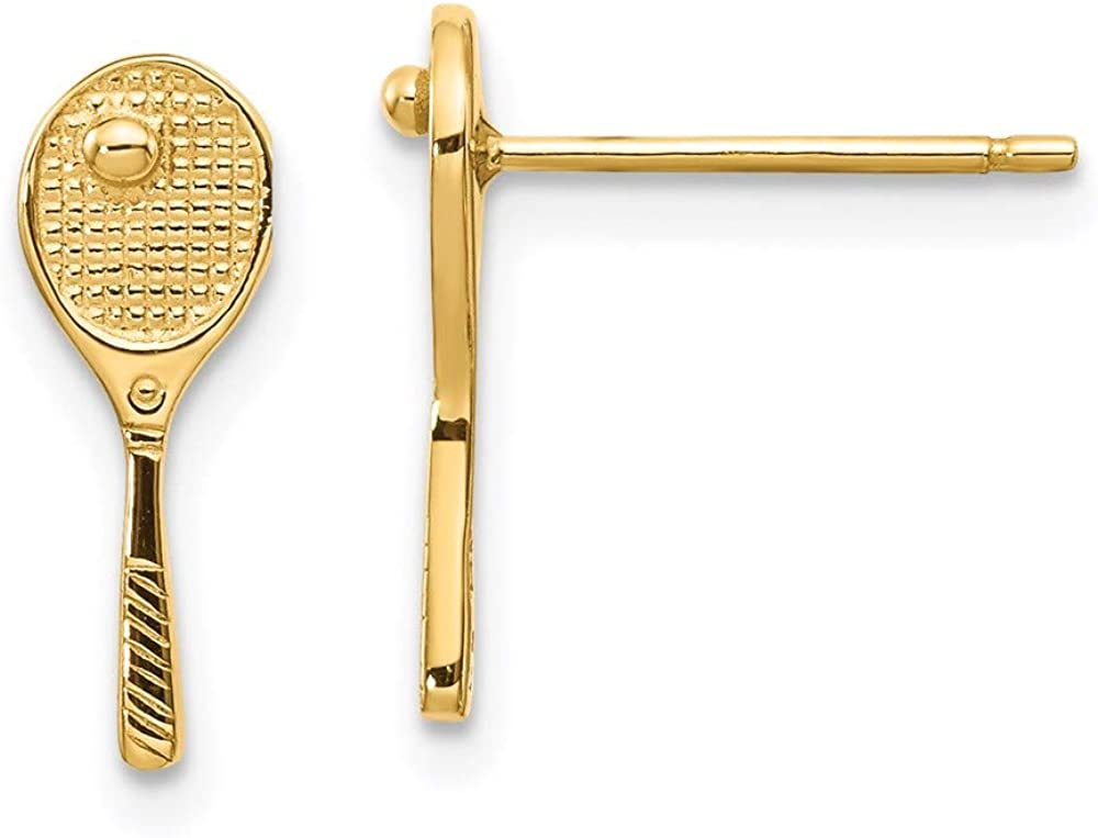 14k Yellow Gold Solid Mini Tennis Racquet with Ball Post Earrings