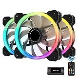 EASYDIY 新しいデュアルリング120mm RGB LEDケースファン、5Vマザーボード同期、速度調整可能、RGB同期ファン10ポートファンハブXリモート-3本1セット