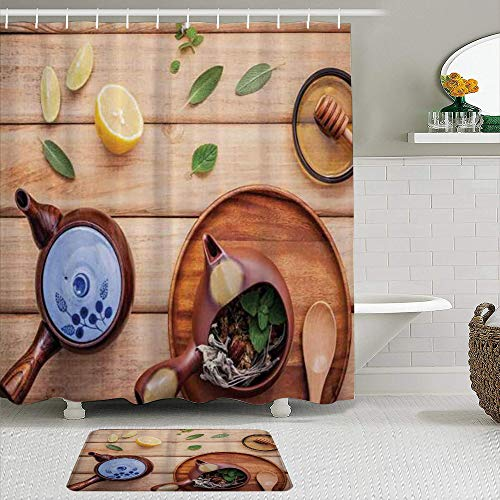 JOSENI 2 Piece Shower Curtain Set with Non-Slip Bath Mat,Tea Party Herbal Tea Pot with Fresh Herbs Sage Peppermint and Lime On Rustic Wood Planks Multicolor,12 Hooks,Personalized Bathroom Decor