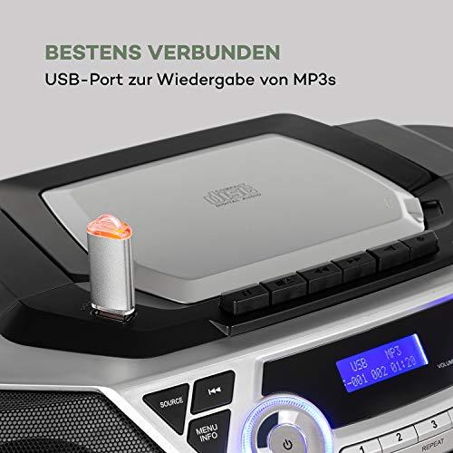 auna Roadie 2K Boombox, Radio mit DAB+ / UKW, CD-Player, CD-R/CD-RW/CD-MP3, Kassettenradio, tragbar, USB-Port, MP3 / WMA, Bluetooth 5.0, AUX-Eingang, Netz- und Batterie-Betrieb, Silber