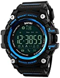 Men Multifunction Smart Watch Pedometer Calories Digital Military Sport Watches Bluetooth for Android iPhone Activity Tracker Call Text Notification Alarm Monitor for Walking Running (Black Blue)
