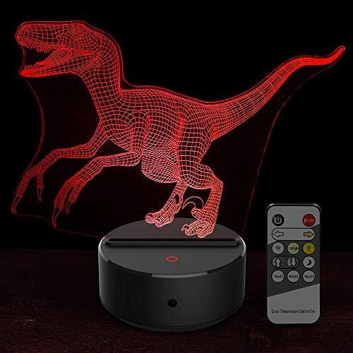 Dessin animé Jurassic World Bru Dinosaure Raptor Forme Acrylique Led Lampe Veilleuse 3D Pour Bébé Enfants Dormir Lightingusb Rechargeable Guy Garçons Filles Présentent Économie D'énergie Décor Pour Bu