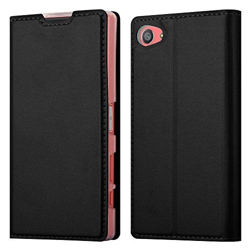 Cadorabo Hülle für Sony Xperia Z5 COMPACT in Classy SCHWARZ - Handyhülle mit Magnetverschluss, Standfunktion und Kartenfach - Case Cover Schutzhülle Etui Tasche Book Klapp Style