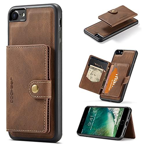 YANCAI Funda Protectora Funda magnética de Cuero para iPhone 7/8 / SE 2020 con Soporte de Tarjeta, [Feature Kickstand] Cubierta a Prueba de Golpes Duradera con Ranuras para Tarjeta (Color : Brown)