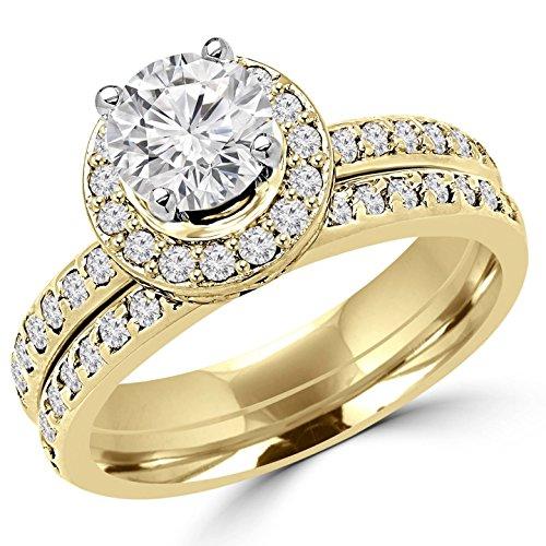 2 CTW Diamond Engagement Wedding Ring & Band Set in 14K Yellow Gold