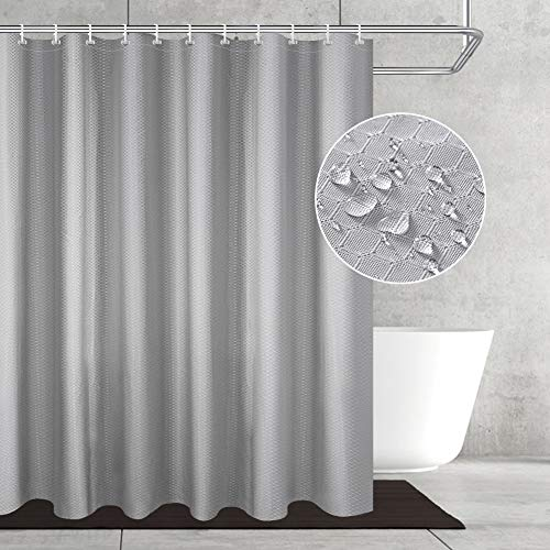 OTraki Duschvorhang 240x200, Textil Bad Vorhang aus Polyester Anti-Schimmel, Wasserdichter, Waschbar Stoff Badezimmer Vorhang Shower Curtain mit 16 Duschvorhängeringen & Beschwertem Saum