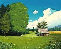 数字で描くアクリル絵の具の色原稿小屋の森数字で描くDiyデジタル絵画現代アートクリスマスの誕生日の家の装飾 カスタマイズ可能 60x75cmフレームなし