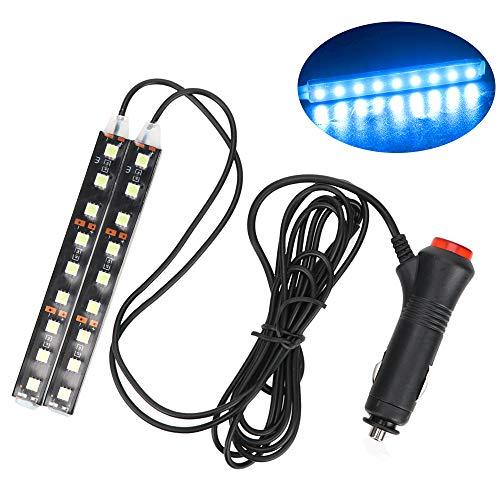 NOPNOG Tira de luz LED para pie de Piso para Coche, lámpara Decorativa Interior, Adaptador para Encendedor de Cigarrillos, 12 V CC (Azul Hielo)