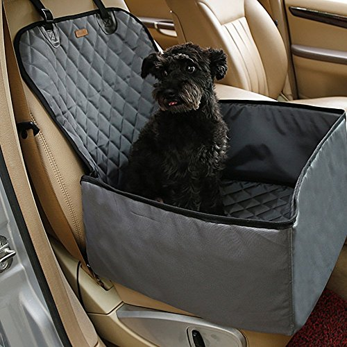 2 in 1 Pet dog thick waterproof car single front pet seat cover (Grey)