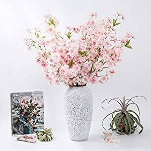 LESING 4pcs Cherry Blossom Flowers Artificial, Fake Silk Cherry Blossom Branches Tall Peach Blossom Flower Stems Arrangement for Wedding Home Office Party Decoration