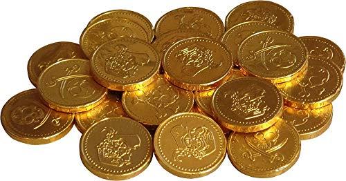 Cathys Candy Cart 50 x Lamina d'oro Pirati a Tema con Monete di Cioccolato al Latte Monete, bottigliette per Feste, premi Pinata, cacce all'uovo di Pasqua