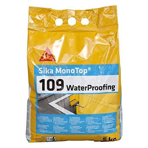 Sika Monotop 109 Waterproofing, Mortier imperméabilisant pour caves et locaux enterrés, 5kg, Gris