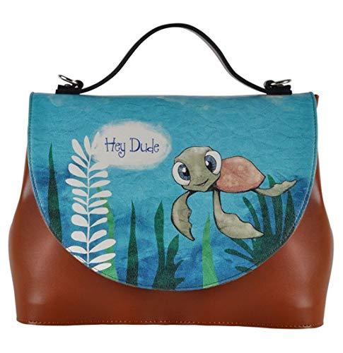 DOGO Damen Handtasche - Umhängetasche - vegan - Handy - Caretta-Hey Dude