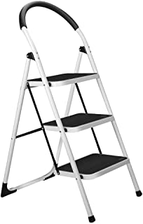 3 Step Stool, Gimify Folding Step Ladder Steel Stepladders (Upgraded Version) Non-Slip Sturdy Steps Wide Pedal with Comfor...