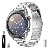 YSSNHWatch band Compatible with Samsung Galaxy Watch3 41mm Bands Stainless Steel Active 2 40mm/44mm Band 20mm Quick Release Watch Bands Replacement Wristband for Galaxy Watch 42mm Silver