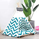 Pet Teepee Pet Tent for Dogs Puppy Cat Bed White Canvas Dog Cute House...