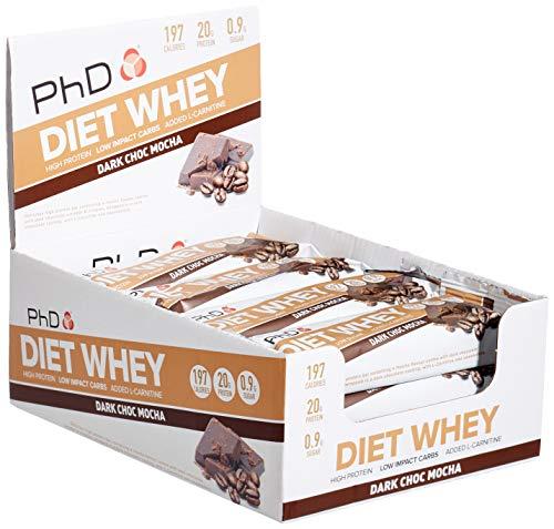PhD Nutrition Diät Molke Riegel, High Protein Riegel mit Dunkle Schokolade Mokka Geschmack, Low Carb Low Sugar Leckerer Snack im Mehrfachpack (12 x 65g Box)