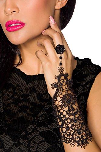 Schwarze elegante dünne Spitzen Handstulpe mit Ring und Kettchen Handschmuck