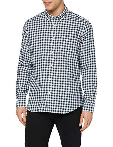 Amazon-Marke: MERAKI Herren Freizeithemd 631990, Mehrfarbig (White/Black), L, Label: L