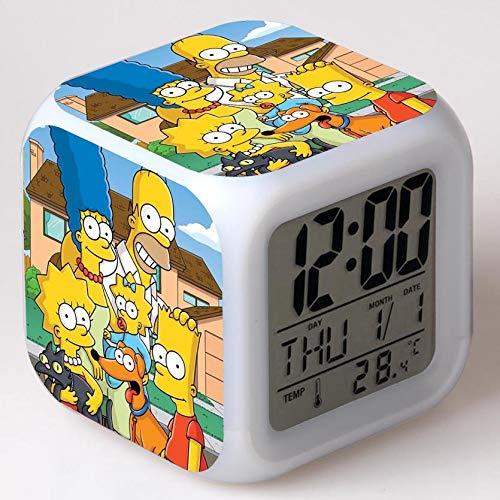 xiaohuhu Simpsons Assen Film de Famille Europe et Amérique LED Sept Couleurs créative réveil Humeur réveil Cadeaux Enfants