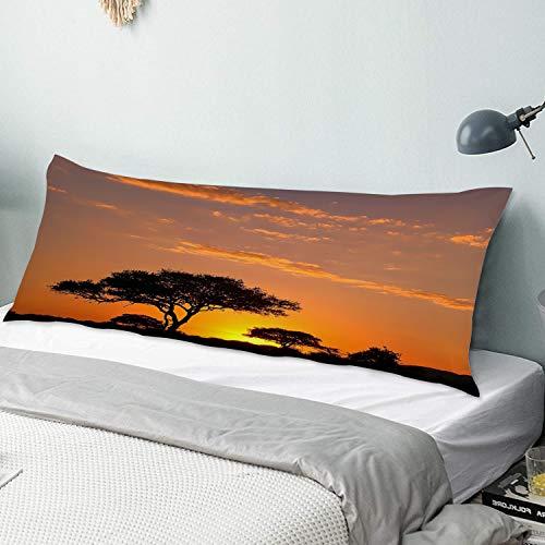 Funda Almohada Cuerpo,Africa Acacia Tree Modern Nature Paisaje Sunset African Safari Scenic Sunset,Funda de Almohada Larga y Suave con Cierre de Cremallera Sofá de Dormitorio Decorativo 20'x 54'