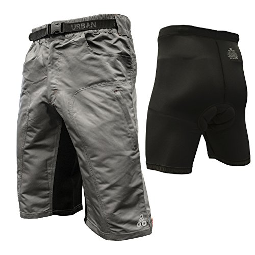 The Enduro - Men's MTB Off Road Cycling Shorts with ClickFast Padded Undershorts with Coolmax Technology (X-Large, Grey)
