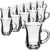 COM-FOUR Juego de vasos de té de 12 piezas - Vasos para bebidas con asas - Vasos de café exprés resistentes al calor - Tazas de café (140 ml - 12 piezas)