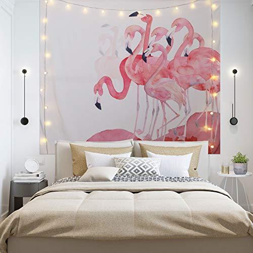 Tapiz de pared tropical con hojas tropicales, flores y flamencos silvestres, paisaje natural, tapiz de pared para dormitorio o sala de estar. 59 x 51 pulgadas