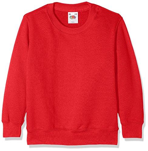 Fruit of the Loom Jungen Classic Set-In Sweat Kids Sweatshirt, Rot (Red 400), 140 (Herstellergröße: 9-11)