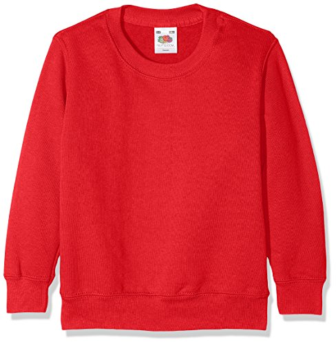 Fruit of the Loom Jungen Classic Set-In Sweat Kids Sweatshirt, Rot (Red 400), 116 (Herstellergröße: 5-6)
