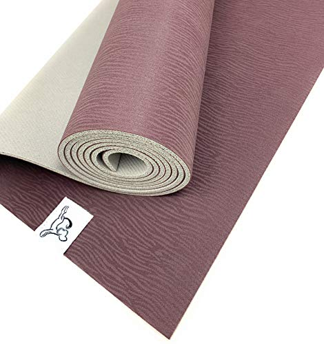 Tiggar Yoga mat - 100% Eco Friendly, Natural Rubber Material, Excellent for Support and Stability in All Types of Yoga and Pilates. (Fudge Silver Cloud, 4MM X 72)