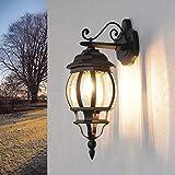 Brest - Lámpara de pared para exteriores rústica (resistente a la intemperie, E27), color gris antracita