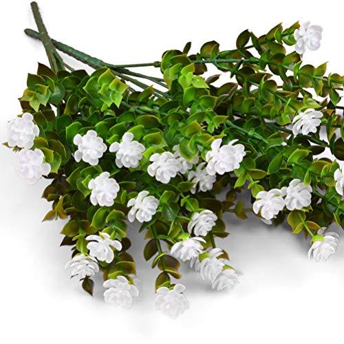 Idealeben 5pcs Bouquet di Fiori Artificiali, Ramo di Piante Artificiali per Interni all'Aperto, Fiori Finti Bianchi per la Decorazione del Giardino di Casa, Fiori Artificiali di Eucalipto Bianco