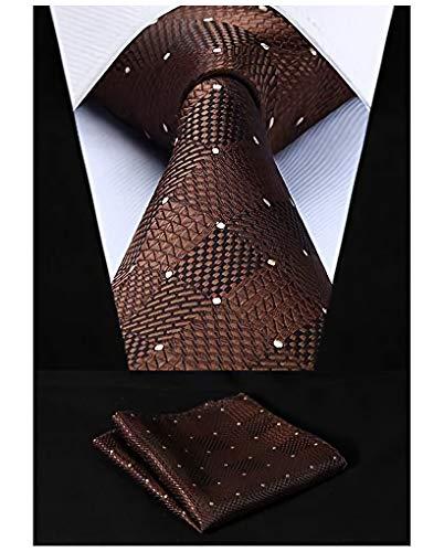 HISDERN Herren Krawatte Taschentuch Check Krawatte & Einstecktuch Set Braun