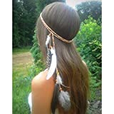 Gangel Indian Feather Hairband Gypsy Hippie Headband with Black Feather Tassel Hemp Rope for Festival Masquerades Carnival Costume Brown Bead Feather Jewelry for Women Headband Side Feather